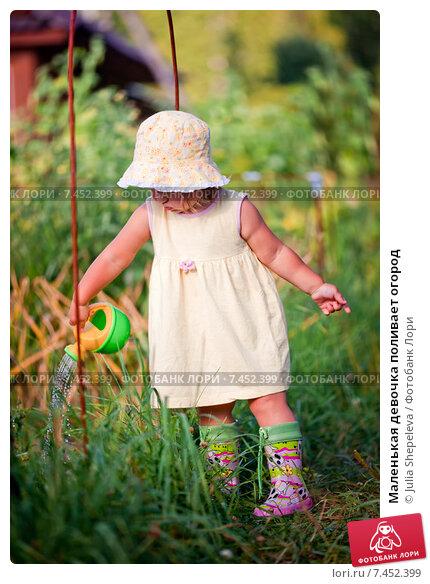 Купить «Маленькая девочка поливает огород», фото № 7452399, снято 29 июля 2014 г. (c) Julia Shepeleva / Фотобанк Лори