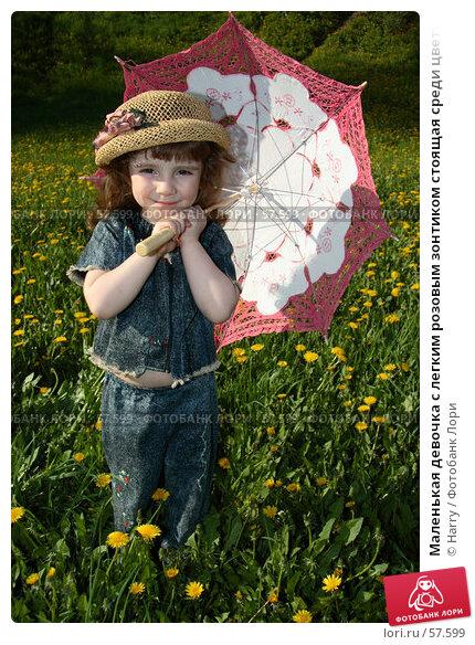 Маленькая девочка с легким розовым зонтиком стоящая среди цветущей травы, фото № 57599, снято 22 мая 2006 г. (c) Harry / Фотобанк Лори
