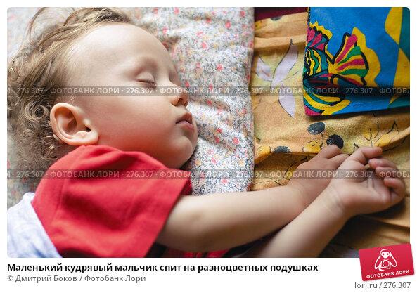 Купить «Маленький кудрявый мальчик спит на разноцветных подушках», фото № 276307, снято 4 июня 2006 г. (c) Дмитрий Боков / Фотобанк Лори
