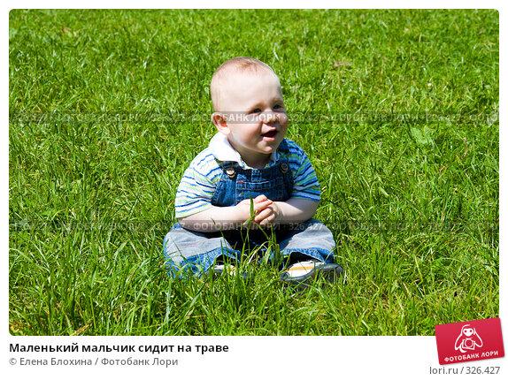 Маленький мальчик сидит на траве, фото № 326427, снято 14 июня 2008 г. (c) Елена Блохина / Фотобанк Лори
