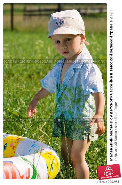 Маленький мальчик у детского бассейна в высокой зеленой траве в деревне, фото № 290931, снято 15 июля 2006 г. (c) Дмитрий Боков / Фотобанк Лори