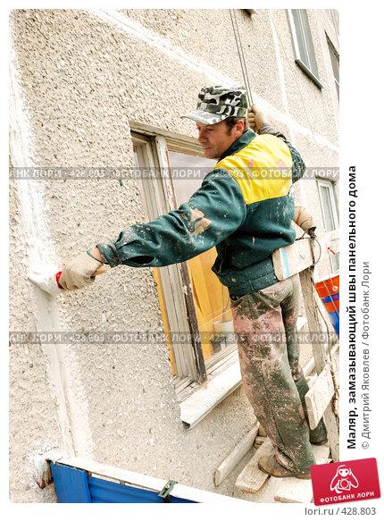 Купить «Маляр, замазывающий швы панельного дома», фото № 428803, снято 29 августа 2008 г. (c) Дмитрий Яковлев / Фотобанк Лори