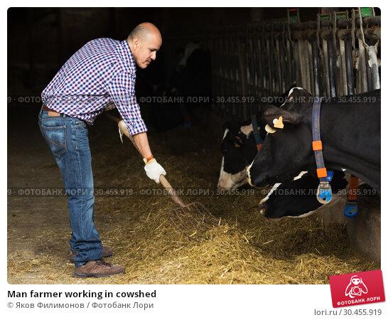 Man farmer working in cowshed. Стоковое фото, фотограф Яков Филимонов / Фотобанк Лори