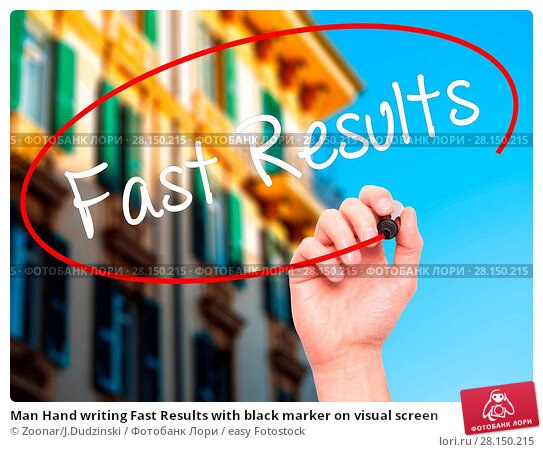 Купить «Man Hand writing Fast Results with black marker on visual screen», фото № 28150215, снято 19 июня 2018 г. (c) easy Fotostock / Фотобанк Лори
