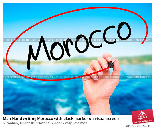 Купить «Man Hand writing Morocco with black marker on visual screen», фото № 28150411, снято 20 июня 2018 г. (c) easy Fotostock / Фотобанк Лори