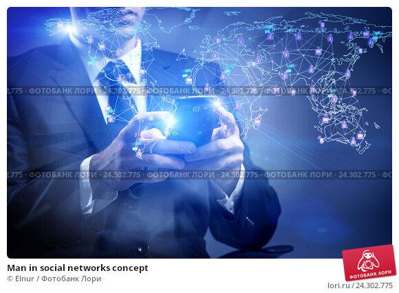 Купить «Man in social networks concept», фото № 24302775, снято 28 июня 2016 г. (c) Elnur / Фотобанк Лори