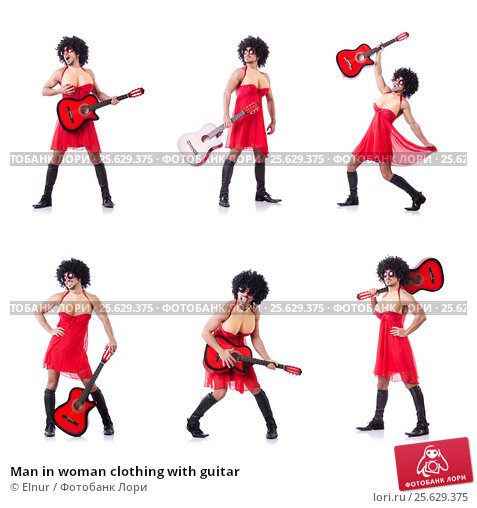 Купить «Man in woman clothing with guitar», фото № 25629375, снято 14 февраля 2013 г. (c) Elnur / Фотобанк Лори