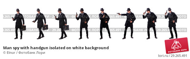 Купить «Man spy with handgun isolated on white background», фото № 29265491, снято 6 ноября 2017 г. (c) Elnur / Фотобанк Лори