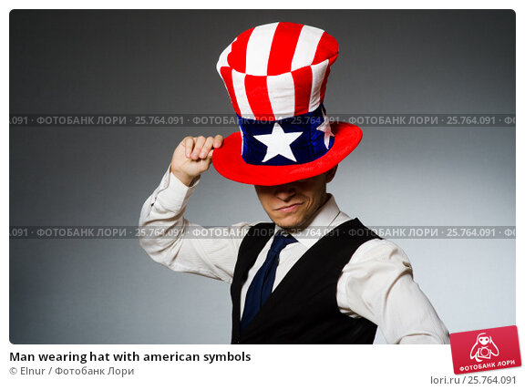 Купить «Man wearing hat with american symbols», фото № 25764091, снято 26 марта 2014 г. (c) Elnur / Фотобанк Лори
