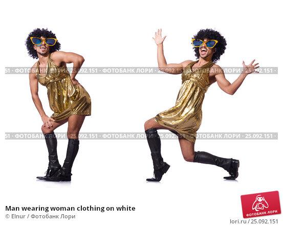 Купить «Man wearing woman clothing on white», фото № 25092151, снято 14 февраля 2013 г. (c) Elnur / Фотобанк Лори