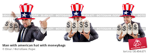 Man with american hat with moneybags. Стоковое фото, фотограф Elnur / Фотобанк Лори