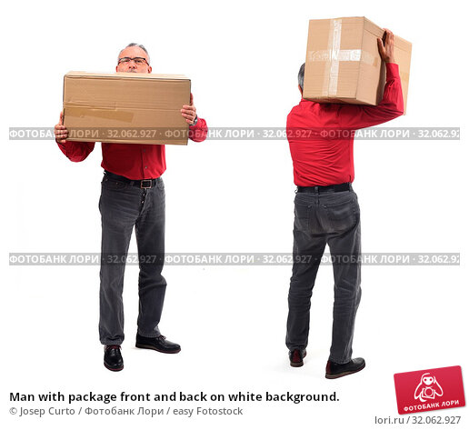 Man with package front and back on white background. Стоковое фото, фотограф Josep Curto / easy Fotostock / Фотобанк Лори