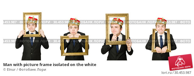 Man with picture frame isolated on the white. Стоковое фото, фотограф Elnur / Фотобанк Лори