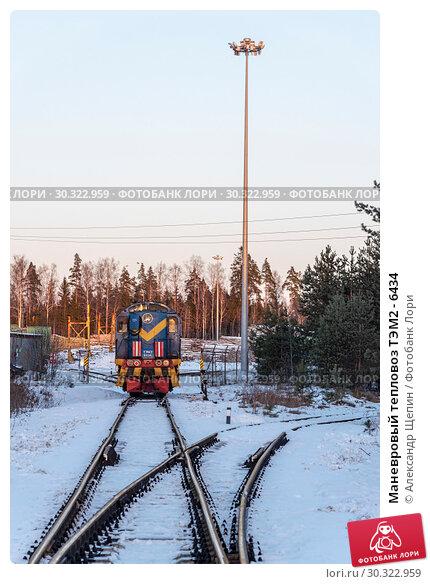 Купить «Маневровый тепловоз ТЭМ2 - 6434», эксклюзивное фото № 30322959, снято 10 декабря 2016 г. (c) Александр Щепин / Фотобанк Лори
