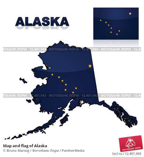 Купить «Map and flag of Alaska», иллюстрация № 12401943 (c) PantherMedia / Фотобанк Лори