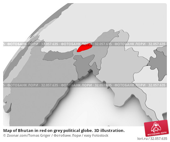 Map of Bhutan in red on grey political globe. 3D illustration. Стоковое фото, фотограф Zoonar.com/Tomas Griger / easy Fotostock / Фотобанк Лори