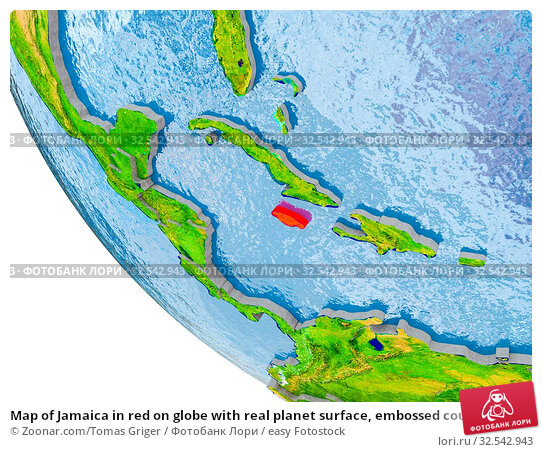 Купить «Map of Jamaica in red on globe with real planet surface, embossed countries with visible country borders and water in the oceans. 3D illustration. Elements of this image furnished by NASA.», фото № 32542943, снято 16 декабря 2019 г. (c) easy Fotostock / Фотобанк Лори