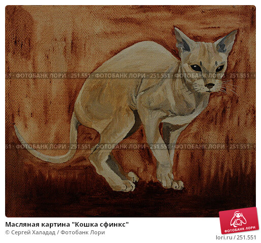 """Масляная картина """"Кошка сфинкс"""", фото № 251551, снято 24 марта 2017 г. (c) Сергей Халадад / Фотобанк Лори"""