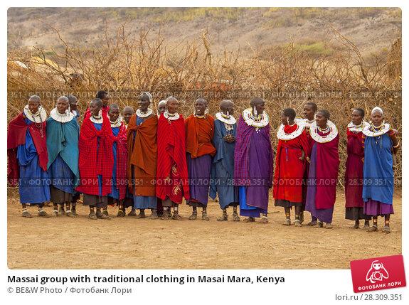 Купить «Massai group with traditional clothing in Masai Mara, Kenya», фото № 28309351, снято 24 апреля 2019 г. (c) BE&W Photo / Фотобанк Лори