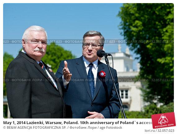 May 1, 2014 Lazienki, Warsaw, Poland. 10th anniversary of Poland`s accession to the European Union. Pictured: Bronislaw Komorowski, Lech Walesa (President... Редакционное фото, фотограф BE&W AGENCJA FOTOGRAFICZNA SP. / age Fotostock / Фотобанк Лори