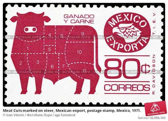 Meat Cuts marked on steer, Mexican export, postage stamp, Mexico, 1975. (2014 год). Редакционное фото, фотограф Ivan Vdovin / age Fotostock / Фотобанк Лори