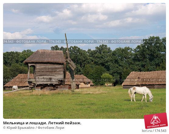 Мельница и лошади. Летний пейзаж., фото № 174543, снято 31 июля 2007 г. (c) Юрий Брыкайло / Фотобанк Лори