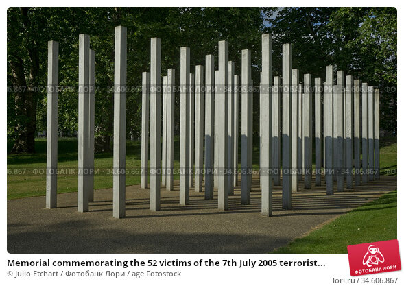 Memorial commemorating the 52 victims of the 7th July 2005 terrorist... Стоковое фото, фотограф Julio Etchart / age Fotostock / Фотобанк Лори