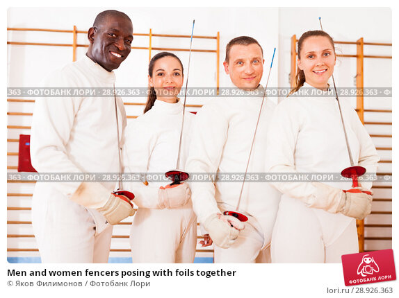 Купить «Men and women fencers posing with foils together», фото № 28926363, снято 11 июля 2018 г. (c) Яков Филимонов / Фотобанк Лори