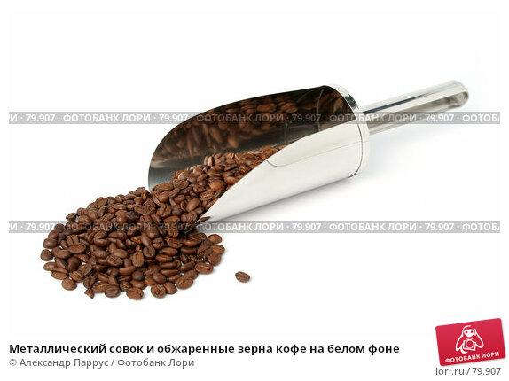 Металлический совок и обжаренные зерна кофе на белом фоне, фото № 79907, снято 11 февраля 2007 г. (c) Александр Паррус / Фотобанк Лори