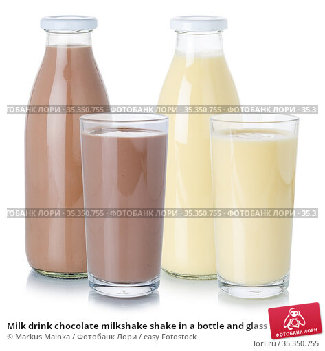 Milk drink chocolate milkshake shake in a bottle and glass isolated... Стоковое фото, фотограф Markus Mainka / easy Fotostock / Фотобанк Лори