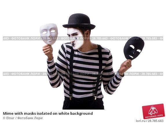 Купить «Mime with masks isolated on white background», фото № 28785683, снято 24 августа 2017 г. (c) Elnur / Фотобанк Лори
