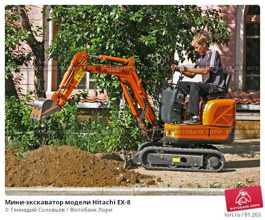Мини-экскаватор модели Hitachi EX-8, фото № 81263, снято 5 июля 2007 г. (c) Геннадий Соловьев / Фотобанк Лори