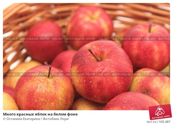 Много красных яблок на белом фоне, фото № 105487, снято 10 октября 2007 г. (c) Останина Екатерина / Фотобанк Лори
