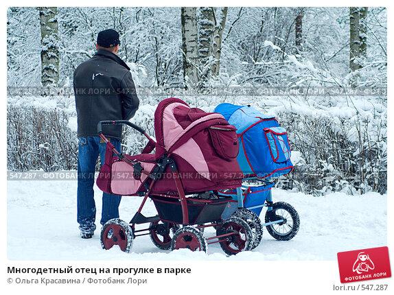 Купить «Многодетный отец на прогулке в парке», фото № 547287, снято 27 января 2008 г. (c) Ольга Красавина / Фотобанк Лори