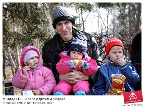 Многодетный папа с детьми в парке, фото № 256355, снято 18 августа 2017 г. (c) Михаил Смыслов / Фотобанк Лори