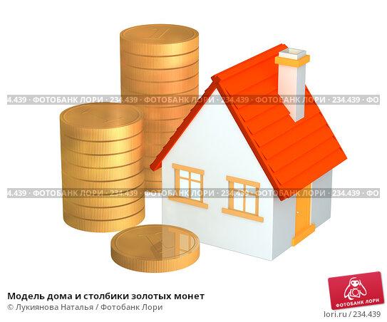 Модель дома и столбики золотых монет, иллюстрация № 234439 (c) Лукиянова Наталья / Фотобанк Лори
