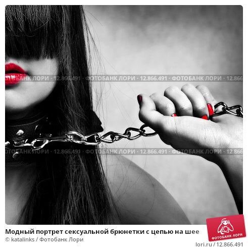 Купить «Модный портрет сексуальной брюнетки с цепью на шее», фото № 12866491, снято 27 ноября 2011 г. (c) katalinks / Фотобанк Лори