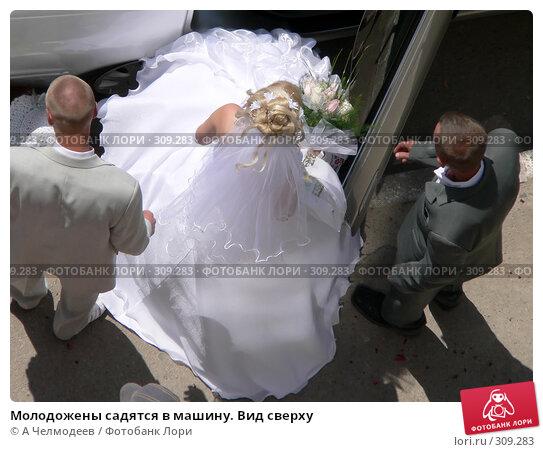 Купить «Молодожены садятся в машину. Вид сверху», фото № 309283, снято 5 августа 2006 г. (c) A Челмодеев / Фотобанк Лори