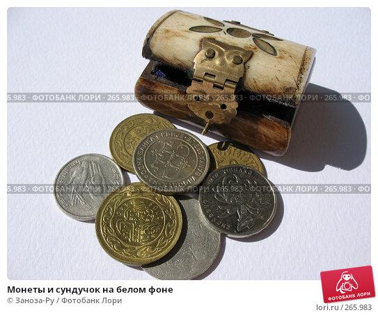 Монеты и сундучок на белом фоне, фото № 265983, снято 26 апреля 2008 г. (c) Заноза-Ру / Фотобанк Лори