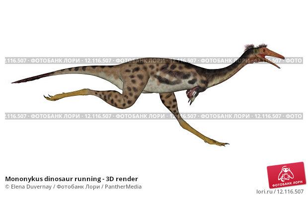 Купить «Mononykus dinosaur running - 3D render», иллюстрация № 12116507 (c) PantherMedia / Фотобанк Лори