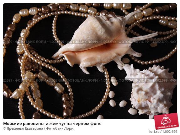 Морские раковины и жемчуг на черном фоне, фото № 1002699, снято 28 июля 2009 г. (c) Яременко Екатерина / Фотобанк Лори
