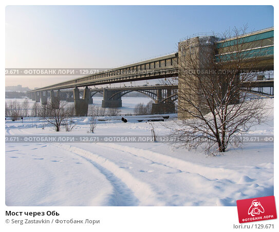 Купить «Мост через Обь», фото № 129671, снято 15 декабря 2004 г. (c) Serg Zastavkin / Фотобанк Лори