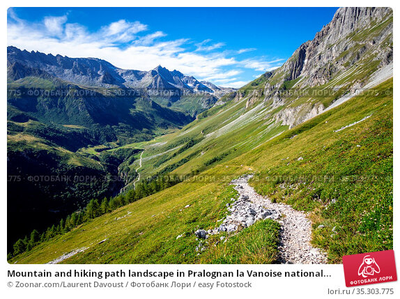 Mountain and hiking path landscape in Pralognan la Vanoise national... Стоковое фото, фотограф Zoonar.com/Laurent Davoust / easy Fotostock / Фотобанк Лори
