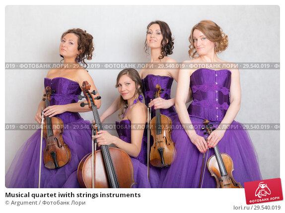 Купить «Musical quartet iwith strings instruments», фото № 29540019, снято 30 апреля 2015 г. (c) Argument / Фотобанк Лори