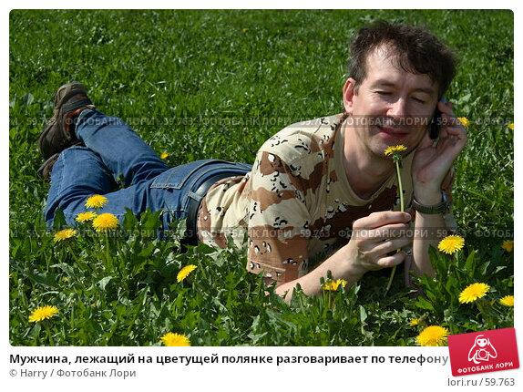 Купить «Мужчина, лежащий на цветущей полянке разговаривает по телефону», фото № 59763, снято 23 июня 2005 г. (c) Harry / Фотобанк Лори