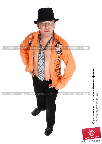 Купить «Мужчина в шляпе на белом фоне», фото № 176887, снято 5 августа 2007 г. (c) hunta / Фотобанк Лори