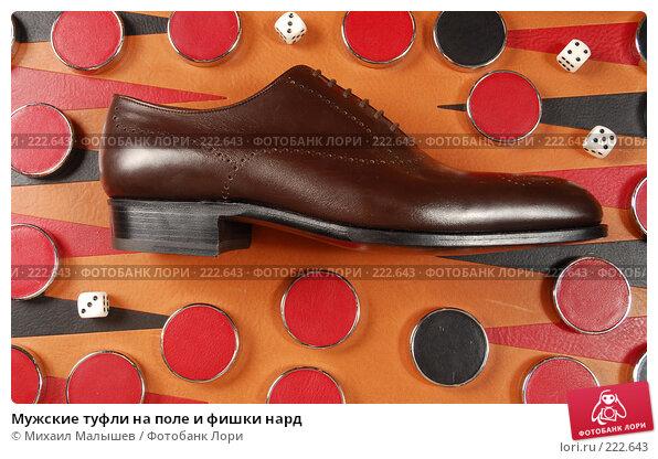 Купить «Мужские туфли на поле и фишки нард», фото № 222643, снято 5 февраля 2008 г. (c) Михаил Малышев / Фотобанк Лори