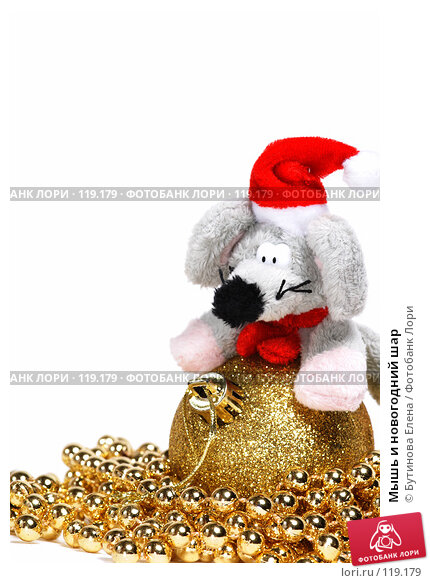 Мышь и новогодний шар, фото № 119179, снято 18 ноября 2007 г. (c) Бутинова Елена / Фотобанк Лори