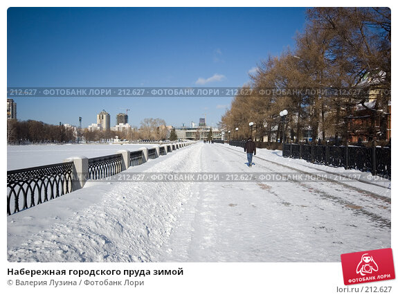 Набережная городского пруда зимой, фото № 212627, снято 22 февраля 2008 г. (c) Валерия Потапова / Фотобанк Лори