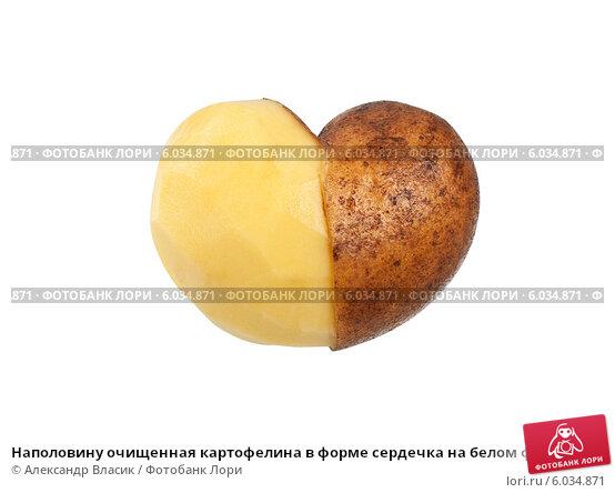 Купить «Наполовину очищенная картофелина в форме сердечка на белом фоне», фото № 6034871, снято 26 января 2013 г. (c) Александр Власик / Фотобанк Лори
